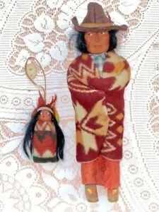 "1940s VINTAGE SKOOKUM 11""  INDIAN NATIVE AMERICAN...as hat and papoose w/ infant"
