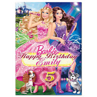 c274; Large Personalised Birthday card Custom made for any name; Princess Barbie
