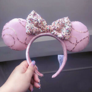 Disney Parks Fantasy Pink Bow Sequins Minnie Ears Limited New Cos Headband