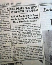 ALBERT FISH Serial Killer - Child Rapist & Cannibal ON DEATH ROW 1935 Newspaper