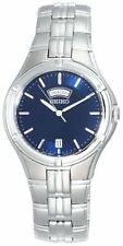 Seiko Men's Dress Sport Silver-Tone Stainless Steel Blue Dial Watch SGEE37