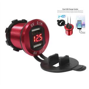 Dual USB Port 4.2A LED Digital Voltmeter Car Cigarette Lighter Charger Socket