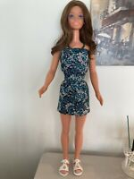 My Size Barbie 36/37 Clothes Handmade New With Necklace Cotton Minidress Strappl