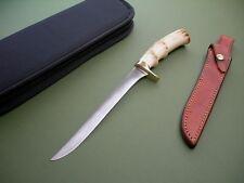 JIMMY LILE FILLET KNIFE / SCRIPT SIGNED / STAG / ORIGINAL SHEATH / CARRY CASE