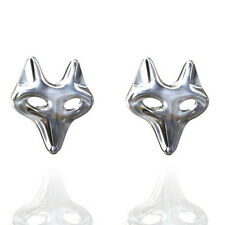FASHIONS FOREVER® 925 Solid Sterling Silver Fox Stud Earrings, Butterfly Clasps