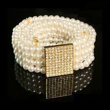 Fashion Women Pearl Accessories Cluster Elastic Waist Belt Waistband Cinch White