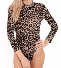 Womens Plain & Printed Long Sleeve Turtle Polo Neck Bodysuit Leotard Top UK 8-28