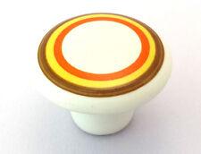 White Ceramic Amerock Knob Rings Brown Yellow Orange Cabinet Cupboard Door Pull