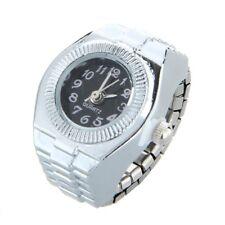 Women Alloy Quartz Black Round Dial Pocket Finger Ring Watch T8I2