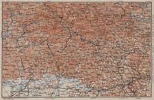 Bayrischerwald. Foresta Bavarese CHAM Passau Böhmerwald Karte. BAEDEKER 1907 carta