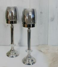 2 Large Candle Holders Silver Home Decoration Tall Glass Jar Tealight Christmas