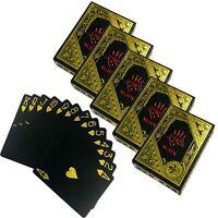 5x 54 Plastik Karten Deck Schwarz | Kunststoff Spielkarten | PVC Pokerkarten