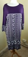 BON MARCHE - PURPLE / WHITE HEAVY COTTON JERSEY KNIT DRESS LARGE BNWT RRP £28
