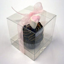 Bulk buy 100 8cm sq Bomboniere favor clear plastic wedding gift product box cube