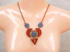 Rot,  Landschaft- Jaspis, und Blauquarz Halskette EDELSTEIN SCHMUCK KREATION