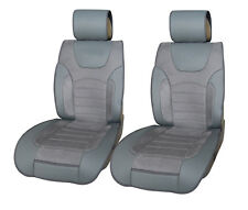 Car Seat Covers 2 PU Leather w Suede Cushion Airbag for Truck SUV Van
