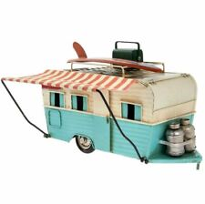 RETRO VINTAGE STYLE CARAVAN WITH CANOPY METAL TIN MODEL ORNAMENT NEW & BOXED