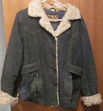 MUDD JEANS Women's Denim Jeans Jacket w/Cream Faux Fur Size Large (L)