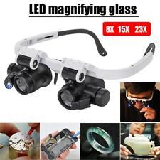 Headband Head-Mounted 2 LED Lamp Light Jewelery Magnifier Magnifying Glass Loupe