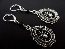 A PAIR OF SPIDER WEB  TIBETAN SILVER LEVERBACK HOOK  EARRINGS. NEW.