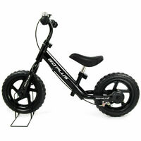 "12"" Black Kids Balance Bike Children Boys & Girls with Brakes and Bell Exercise"