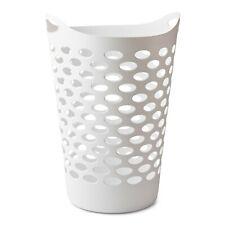 "Flexible Laundry Hamper Clothes Basket with Handles & Holes, White, 26"", 2.2 bu"