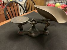 Antique Cast Iron Balance Scale with Brass Scoop