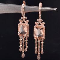 Natural Diamond Pink Morganite Art Deco Chandelier Dangle Earrings 14K Rose Gold