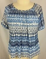 C. D. Daniels Womens 1X Tunic Top Short Sleeve Blue White Silver Accent Stretch