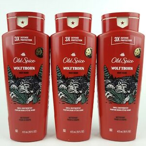 3 x Old Spice Wolfthorn 16 oz Body Wash Wild Collection NEW