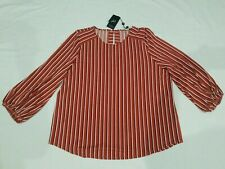 Adrianna Papell Women's Blouse Top XL UK20 stripe brown rust white & black BNWT
