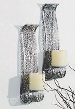 Dekoratives 2er Set Wandkerzenhalter für Stumpenkerzen aus Metall Silber