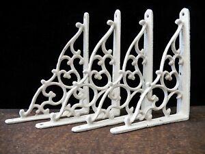 "Shelf Brackets Braces White Cast Iron 5.25"" x 7"" Rustic Antq-Style Lot Set of 4"