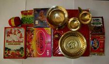 Set of Hindu Puja Pooja Havan Samagri Brass Religious Plate Bowl Diya Roli Moli