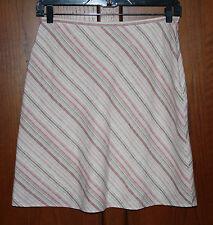 A-Line Knee Length Linen Blend Skirt~Sz 12P~Tan /Pink Stripe~Casual Corner Annex