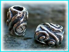 Artisan Sterling Silver Swirly Barrel Bead