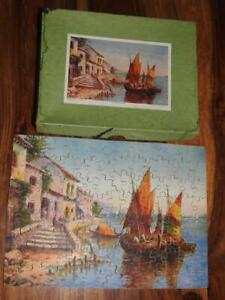 """VINTAGE 1930s BOXED WOODEN ST.MARY JIGSAW PUZZLE """"ON THE LAGOON"""" 11"""" x 8"""" 130 Pc"""