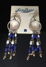 Lucky Brand Blue & White Fringe Gemstone Silver Tone Hoop Earrings $35
