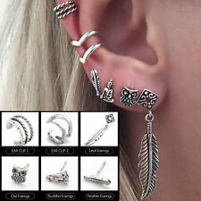 6Pcs/set Retro Women Boho Ear Stud Earrings Leaf Owl Buddha Silver Tone Jewelry