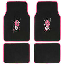Custom Design Floor Mats, 4 PC Car Accessories for girls, Pink Hawaiian Flower