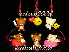 Yujin San-X Rilakkuma Bear strap Gashapon figure (full set of six figures)