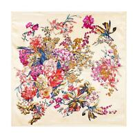 35'' x 35'' Women's Beige Vintage Flower Printed Silk-Satin Square Head Scarf