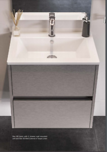 Catalano Star 80x48 basin with 1 TAP HOLE and 2 drawer unit in FENIX CHARCOAL