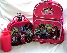 "Monster High Pink 16"" Backpack and Monster High Lunchbox with Water Bottle-New!"