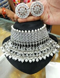 Indian Bollywood Style Kundan Wedding Silver Fashion Pearl Jewelry Necklace Gfdd