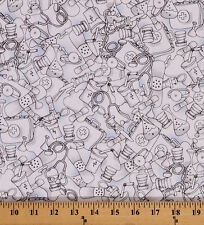 Cotton Med Stuff Medical Equipment Nurse Blue Cotton Fabric Print BTY D503.09