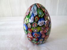 Murano Italy Millefiori Glass Egg Shaped Paperweight