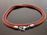 """3mm Brown Braided Silk Style Necklace ~ With Stainless Steel 14"""" 16"""" 18"""" 20"""" 22"""""""