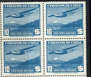CHILE 1946-49 LAN SOFICH 397 10p MNH block of 4 watermarked