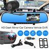 "HOT 4.3"" HD 1080P Dual Lens DVR Dash Recorder Camera Monitor Car Rearview Mirror"